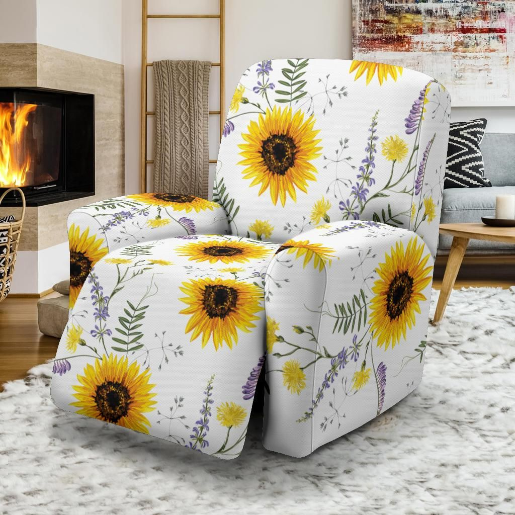 Newest Beautiful Sunflowers Pattern Recliner Chair Slipcover In For Lusby  (View 17 of 17)