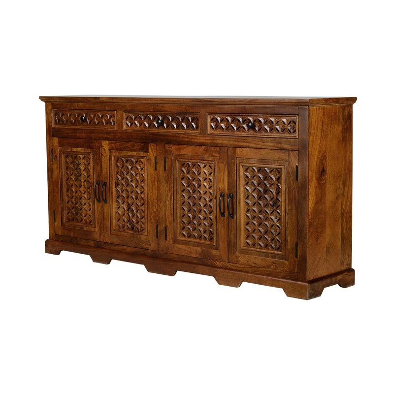 """Newest Bungalow Rose Chevell 70"""" 3 Drawer Acacia Wood Sideboard Intended For Claire 70"""" Wide Acacia Wood Sideboards (View 15 of 20)"""
