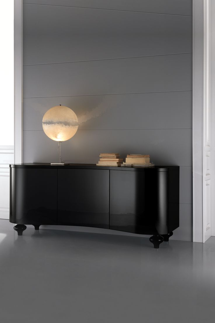 """Newest Emmie 84"""" Wide Sideboards With Regard To High End Designer Italian Black Buffet Sideboard (View 18 of 20)"""