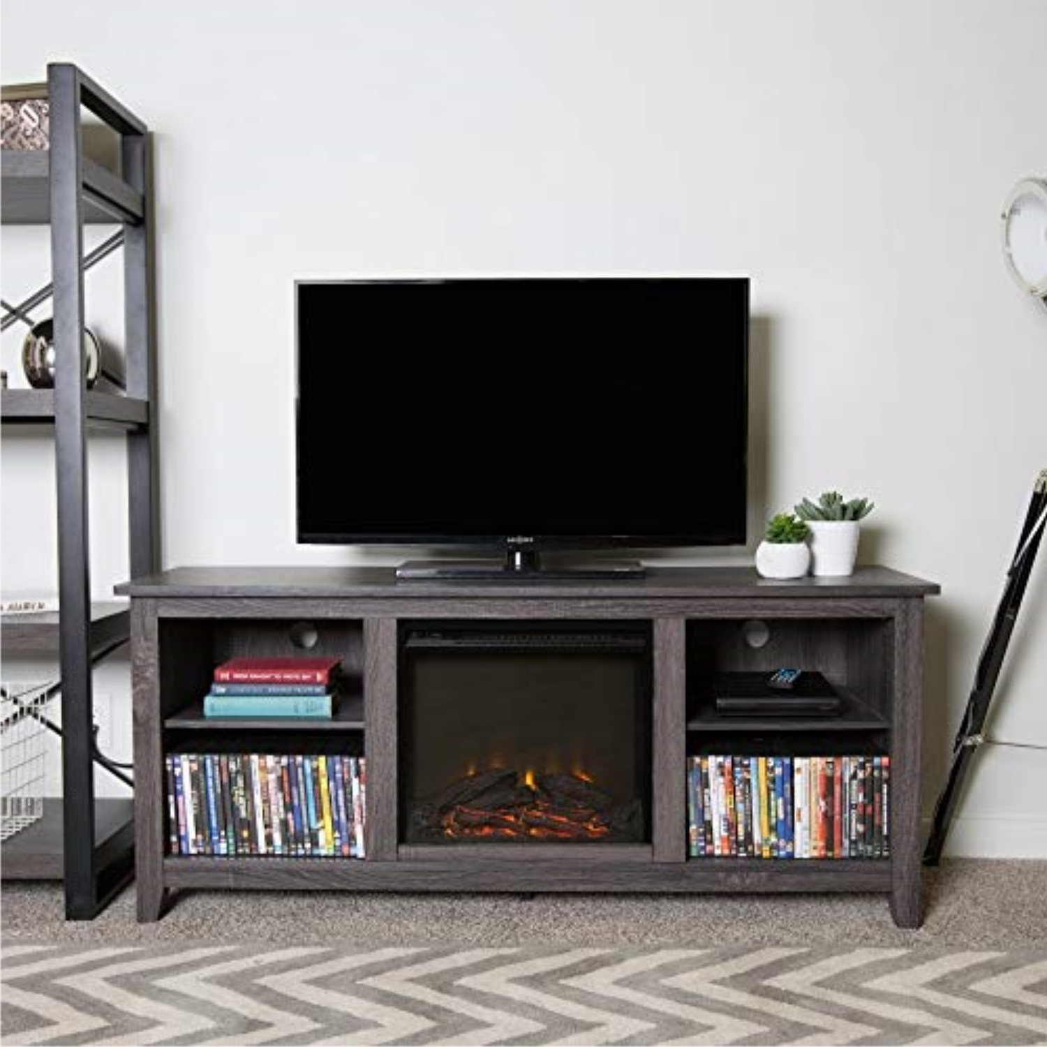 """Newest We Furniture 58 Inch Charcoal Wood Fireplace Tv Stand In Labarbera Tv Stands For Tvs Up To 58"""" (View 6 of 20)"""