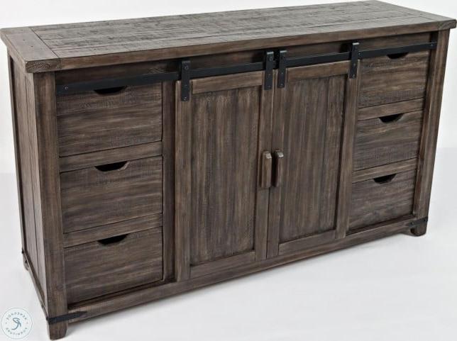"Newest Westhoff 70"" Wide 6 Drawer Pine Wood Sideboards Regarding Madison County Barnwood 60"" Barn Door Server From Jofran (View 14 of 20)"