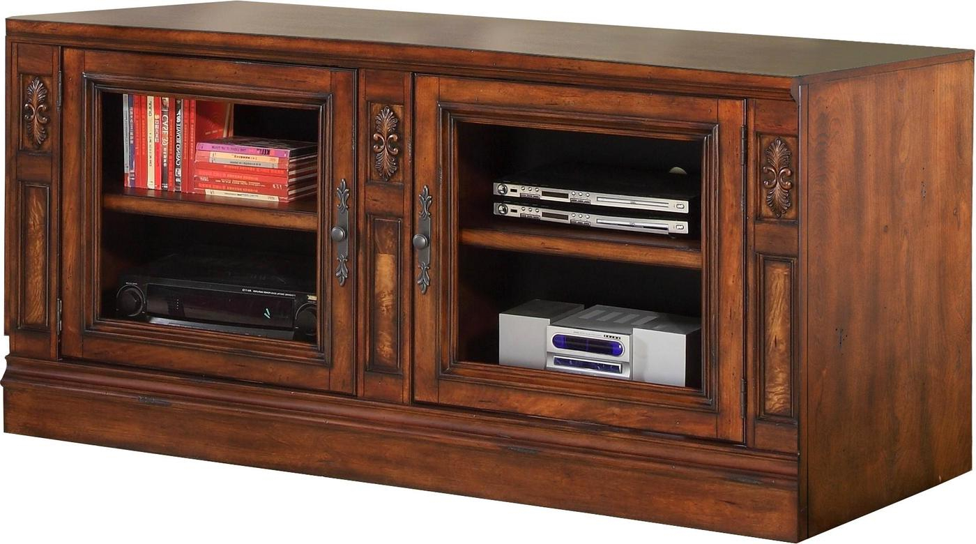"""Newest Whittier Tv Stands For Tvs Up To 60"""" With Regard To Leonardo Transitional 60"""" Tv Stand In Vintage Dark (View 9 of 20)"""