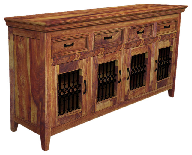 Newest Wood Accent Sideboards Buffet Serving Storage Cabinet With 4 Framed Glass Doors Pertaining To Modern Rustic Texas Solid Wood Sideboard 4 Door Buffet (View 20 of 20)