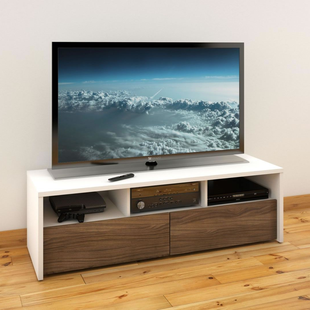 """Nexera Liber T 60 Inch Tv Stand (white & Walnut) – Nx For Latest Whittier Tv Stands For Tvs Up To 60"""" (View 18 of 20)"""