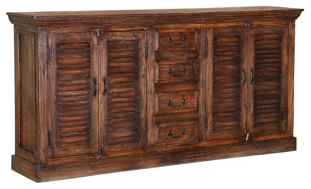Orner Traditional Wood Sideboards With Regard To Widely Used Vinton Rustic Solid Wood Shutter Door 4 Drawer Large (View 2 of 20)