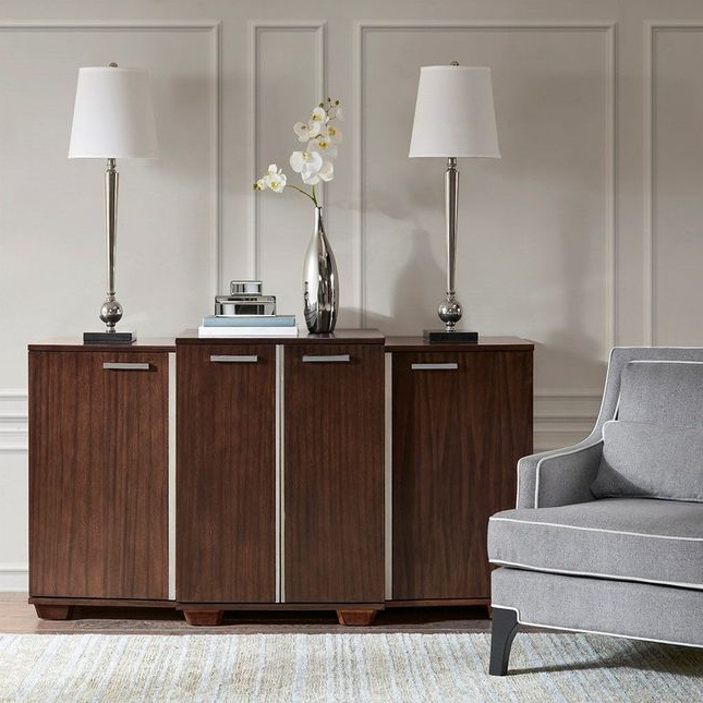 Park Credenzas Pertaining To Well Known Vandyke Credenza Walnut Brown Contemporary Madison Park (View 5 of 20)