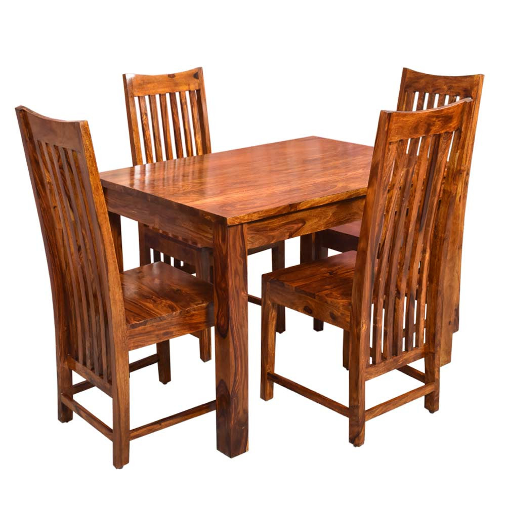 Patron Solid Wood Four Seater Dining Set Inside Most Current Tarakan (View 14 of 20)