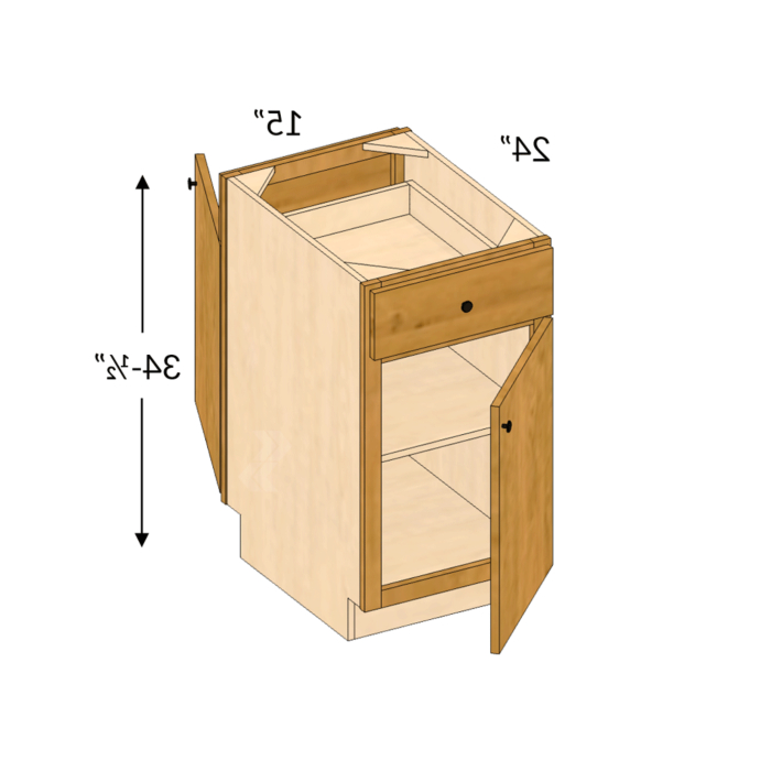"""Pb15 – Jupiter Cherry Natural Peninsula Base Cabinet ( 2 In Famous Daisi 50"""" Wide 2 Drawer Sideboards (View 5 of 20)"""