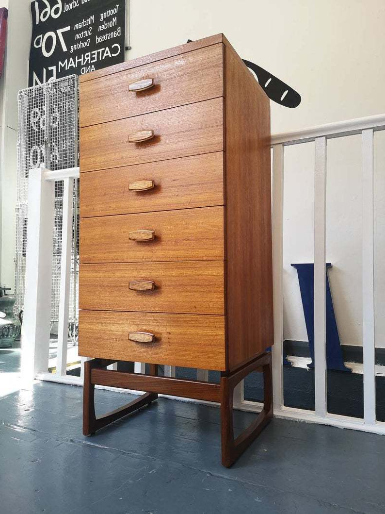 """Pitzer 47.91"""" Wide 4 Drawer Wood Sideboards With Newest 1960s G Plan 'quadrille' Tallboy Chest Of Drawers (View 9 of 10)"""