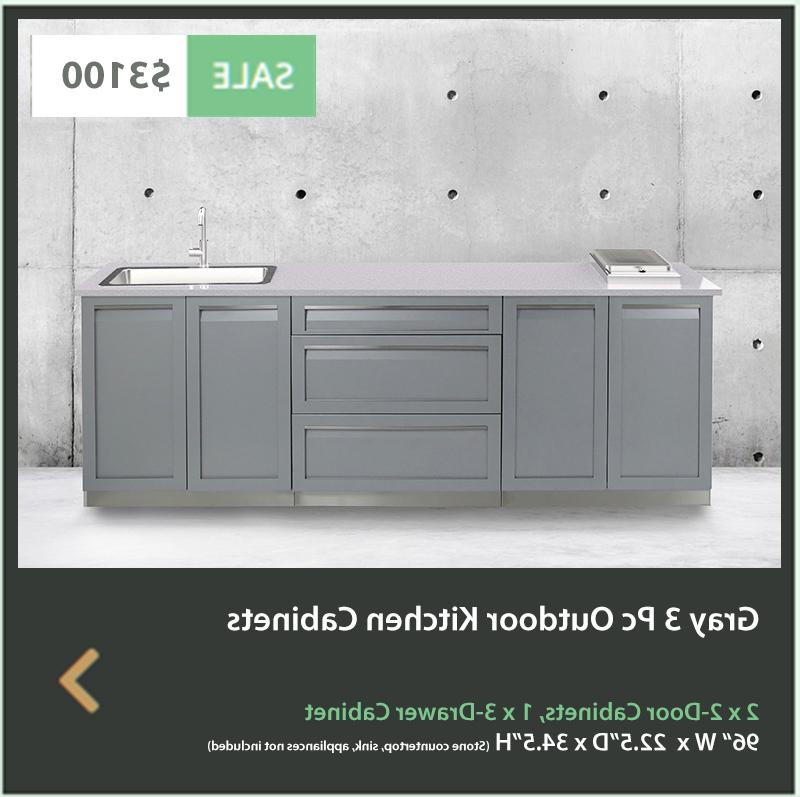 Popular 3 Drawer And 2 Door Cabinet With Metal Legs Inside Gray 3 Pc Outdoor Kitchen Cabinets 2 X 2 Door Cabinet, (View 3 of 20)