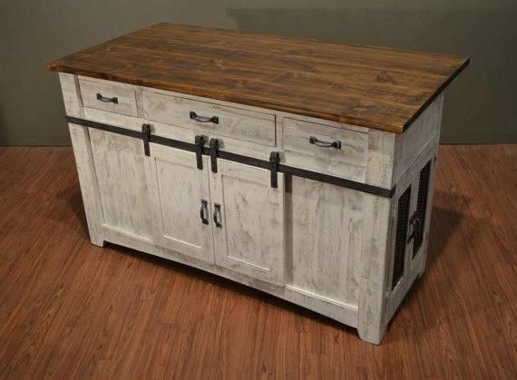 "Popular 3 Drawer Kitchen Island W/2 Sliding Doors & 2 Mesh Doors Intended For Kinston 74"" Wide 4 Drawer Pine Wood Sideboards (View 17 of 20)"