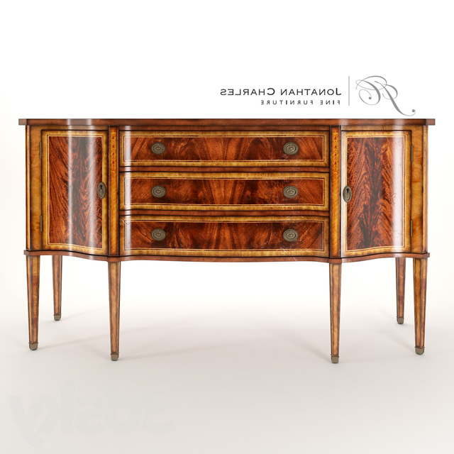 """Popular 3d Models: Sideboard & Chest Of Drawer – Jonathan Charles Pertaining To Albright 58"""" Wide 3 Drawer Sideboards (View 20 of 20)"""