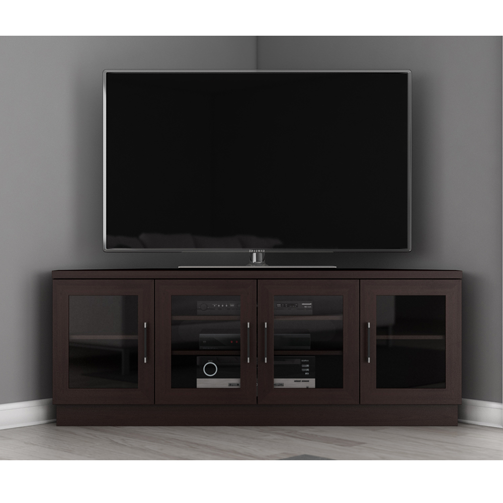 """Popular Furnitech Ft60cccw – Contemporary Corner Tv Stand Media Throughout Bloomfield Tv Stands For Tvs Up To 65"""" (View 6 of 20)"""
