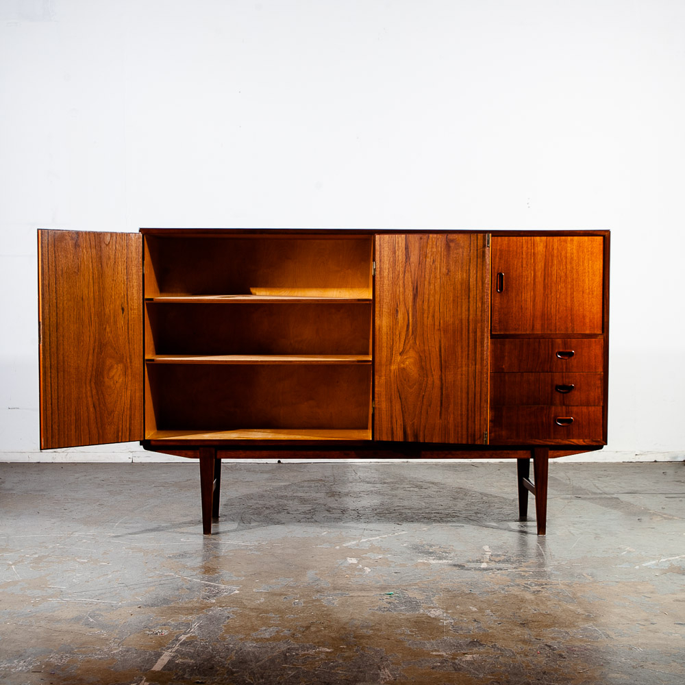 """Popular Mid Century Danish Modern Credenza Sideboard Teak Drawers Within Orianne 55"""" Wide 2 Drawer Sideboards (View 17 of 20)"""