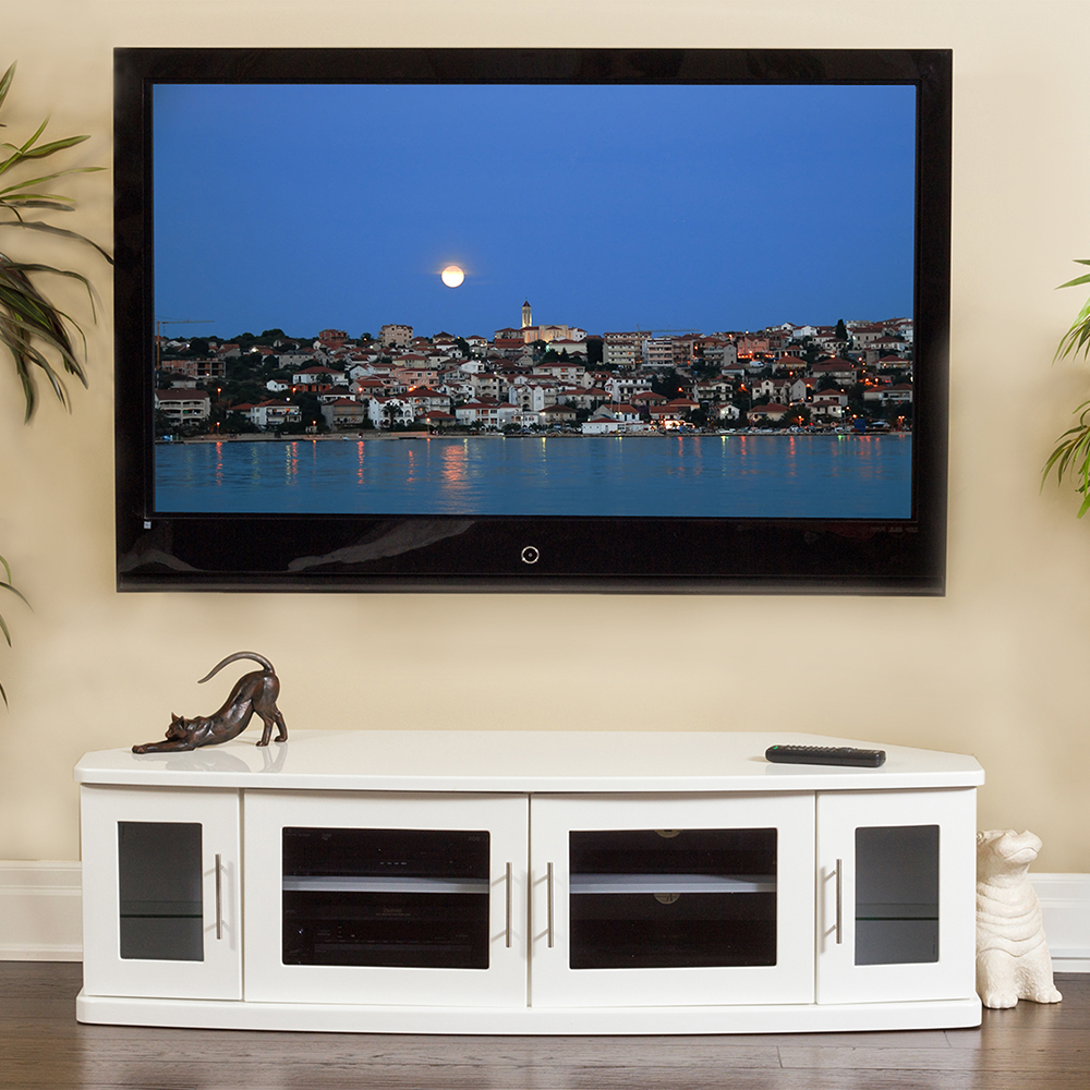 """Popular Plateau Newport62wh Corner Tv Stand Up To 70"""" Tvs In White In Lederman Tv Stands For Tvs Up To 70"""" (View 17 of 20)"""