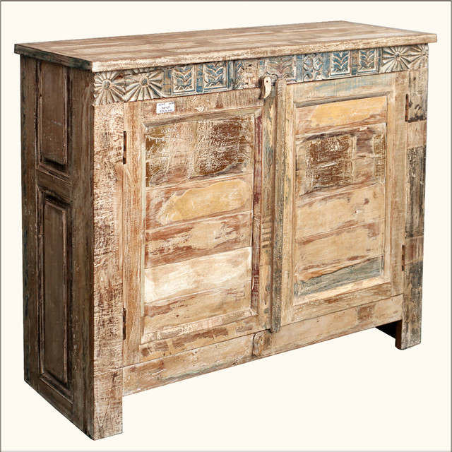Popular Rustic Distressed Reclaimed Wood Buffet Cabinet Credenza Inside Wood Accent Sideboards Buffet Serving Storage Cabinet With 4 Framed Glass Doors (View 5 of 20)