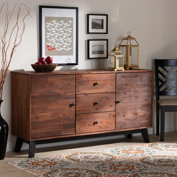 """Popular Shop Calla Modern And Contemporary Oak Finished Wood Throughout Fahey 58"""" Wide 3 Drawer Acacia Wood Sideboards (View 6 of 20)"""