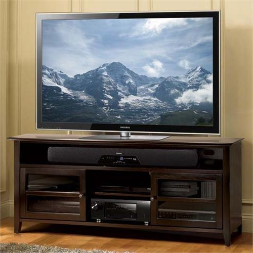"""Preferred Buckley Tv Stands For Tvs Up To 65"""" Inside Bello No Tools Assembly 65 Inch Wood Tv Cabinet Dark (View 15 of 20)"""