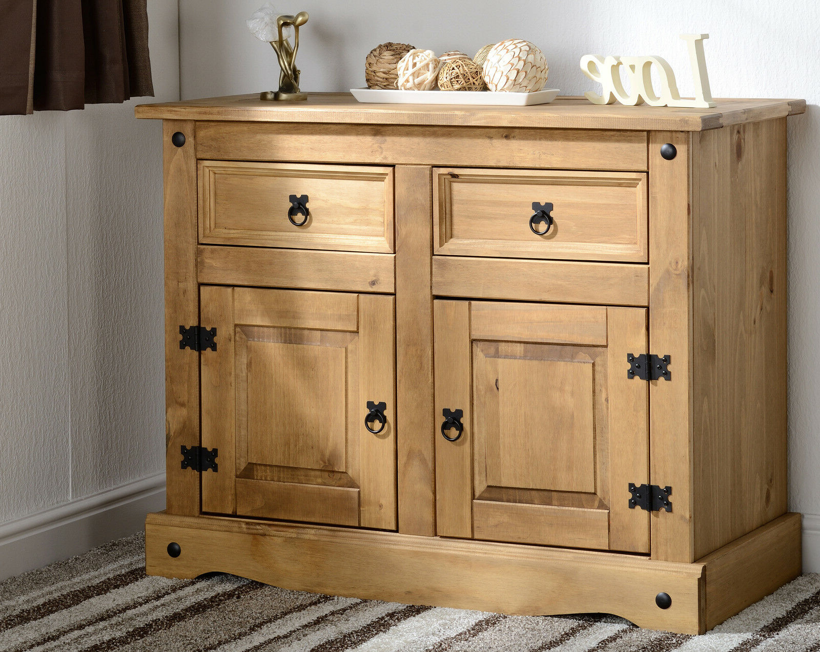 Preferred Corona Pine Wooden Mexican Pine Sideboard 2 Door 2 Drawer Pertaining To (View 3 of 20)
