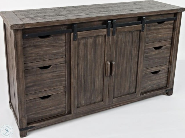 """Preferred Madison County Barnwood 60"""" Barn Door Server From Jofran Within Yukon 58"""" Wide 2 Drawer Pine Wood Sideboards (View 5 of 20)"""