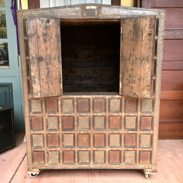 """Preferred Nazarene 40"""" H X 52"""" W Standard Bookcase Throughout Balinese Cabinet W/ Stippled Copper Accents (View 4 of 20)"""