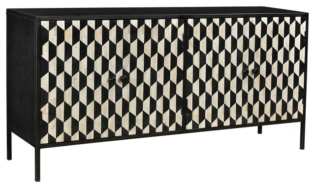 """Preferred Raybon Buffet Tables In 64"""" W Davide Sideboard Hex Pattern Doors Bone Inlay Iron (View 12 of 20)"""