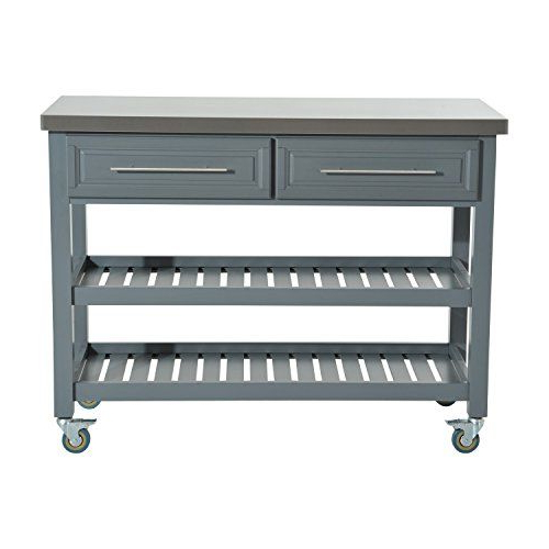 Preferred Rolling Kitchen Trolley Cart Stainless Steel Top Rustic Throughout Lacluta Sideboards (View 12 of 18)