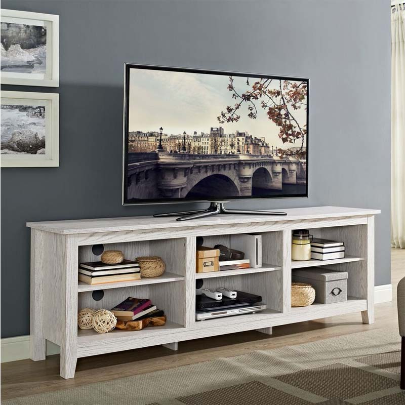 """Preferred Walker Edison Essentials 70 Inch Tv Stand (white Wash Regarding Huntington Tv Stands For Tvs Up To 70"""" (View 20 of 20)"""