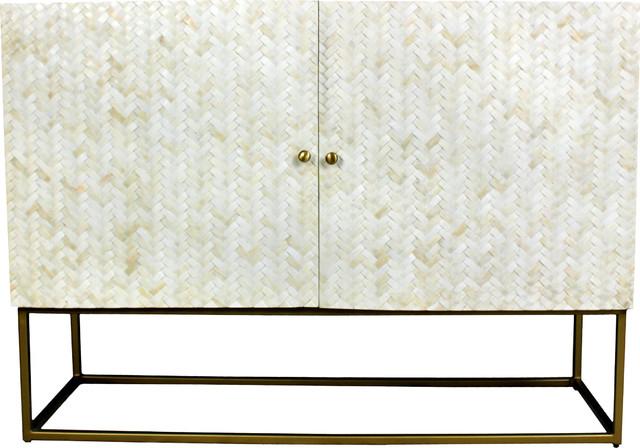 Raybon Buffet Tables Regarding 2019 Redondo Raybon 2 Door Cabinet With White Bone Inlay (View 8 of 20)