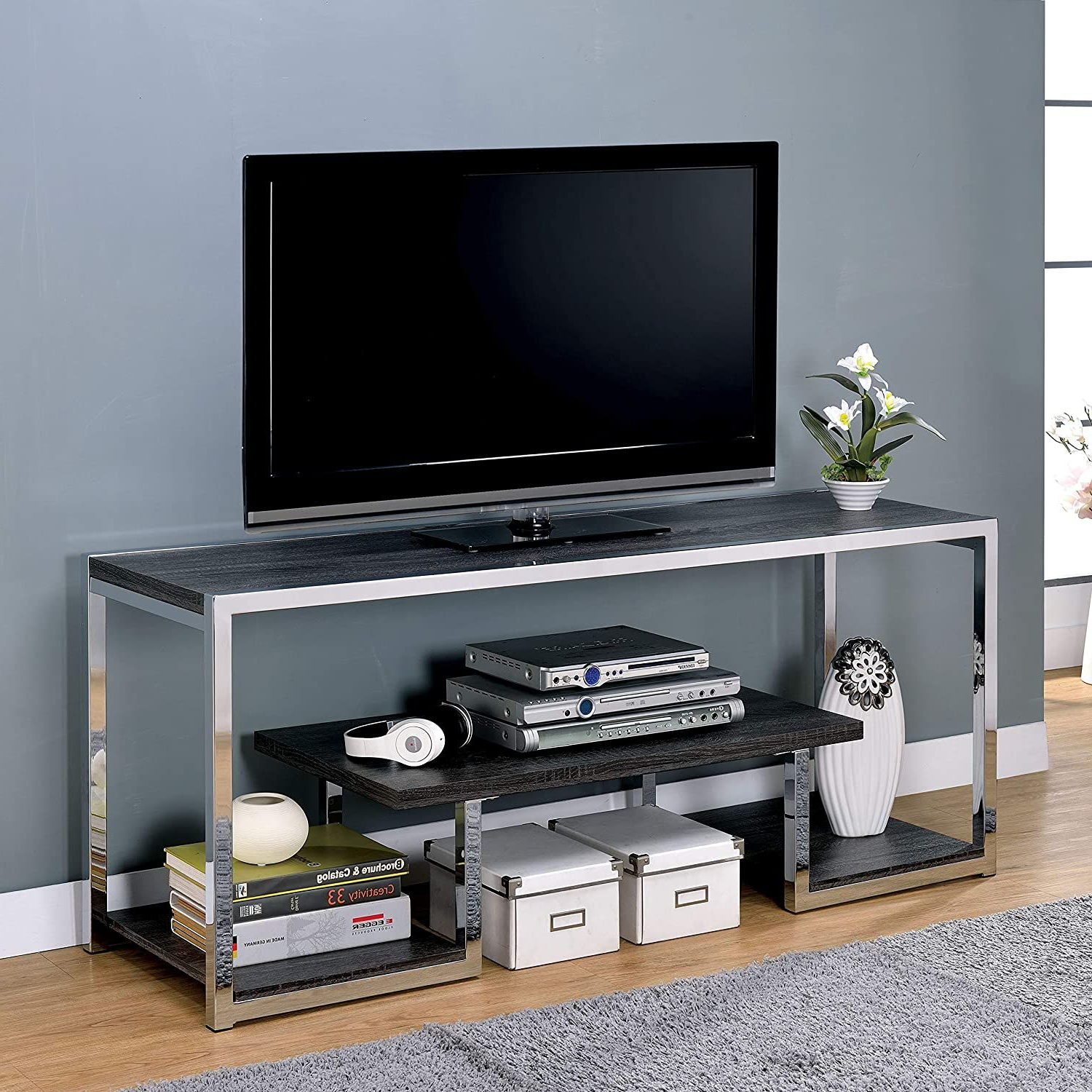 """Recent Contemporary 60 Inch Metal 3 Shelf Tv Stand – 72 Inches Regarding Alannah Tv Stands For Tvs Up To 60"""" (View 20 of 20)"""