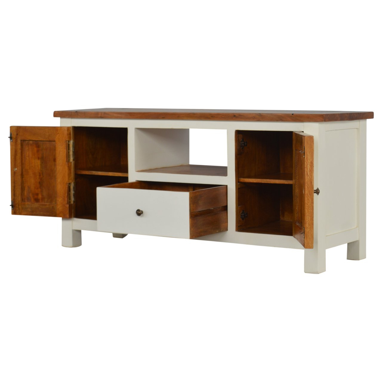"""Recent Country Two Tone Solid Wood Tv Stand For Tvs Up To 43 Inside Quillen Tv Stands For Tvs Up To 43"""" (View 12 of 20)"""