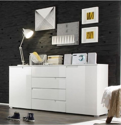 """Recent Orianne 55"""" Wide 2 Drawer Sideboards Throughout Santiego White High Gloss 2 Door 4 Drawer Sideboard W 100cm (View 10 of 20)"""