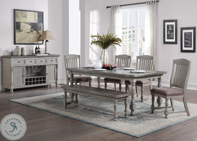 """Recent Pandora 42"""" Wide 2 Drawer Servers With Lorraine Distressed Gray Server From Avalon Furniture (View 19 of 20)"""