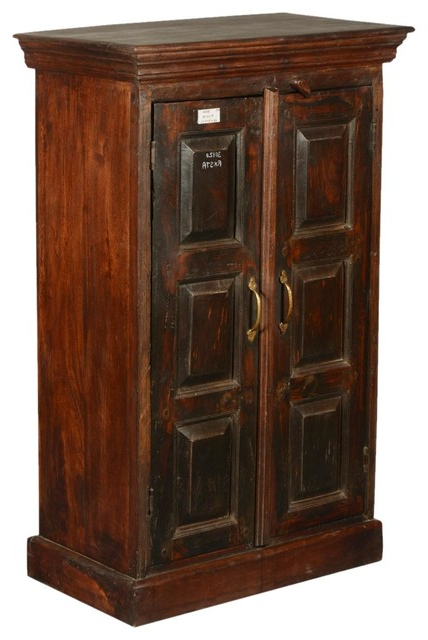 """Recent Shaker Rustic Reclaimed Wood Double Door 43"""" Tall Cabinet Inside Wood Accent Sideboards Buffet Serving Storage Cabinet With 4 Framed Glass Doors (View 17 of 20)"""
