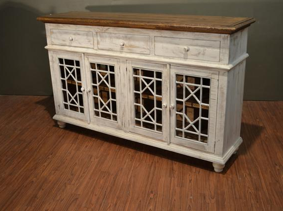 """Recent Westhoff 70"""" Wide 6 Drawer Pine Wood Sideboards In Rustic Solid Wood Distressed White Tv Console / China Cabinet (View 12 of 20)"""