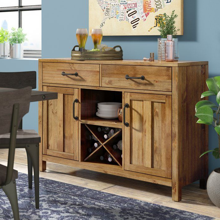 """Ronce 48"""" Wide Sideboards Within Preferred Avenal 52"""" Wide 2 Drawer Sideboard (View 17 of 20)"""