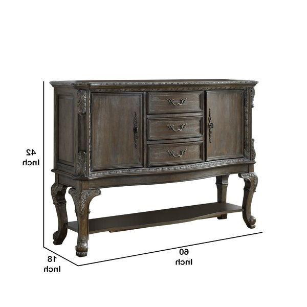 """Rosalind Wheeler Melandra 60'' Wide 3 Drawer Sideboard With Well Known Maeva 60"""" 3 Drawer Sideboards (View 7 of 20)"""