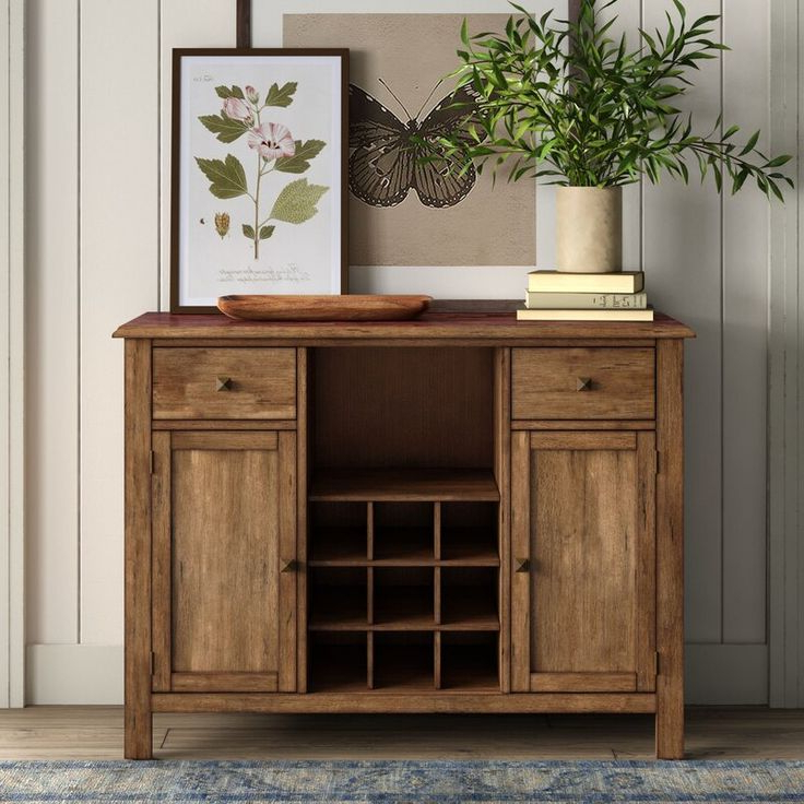 """Ross 48"""" Wide 2 Drawer Rubberwood Wood Server In 2020 Pertaining To Favorite 64"""" Wide Rubberwood Sideboards (View 16 of 20)"""