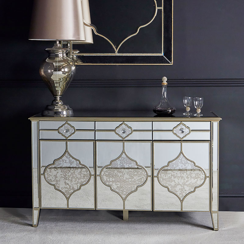 """Sahara Marrakech Moroccan Gold Mirrored 3 Drawer 3 Door Regarding Best And Newest Isra 56"""" Wide 3 Drawer Sideboards (View 19 of 20)"""