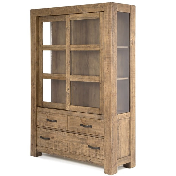 """Shop Griffith China Cabinet In Rustic Weathered Toffee Pertaining To Trendy Yukon 58"""" Wide 2 Drawer Pine Wood Sideboards (View 18 of 20)"""