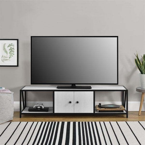 """Shop Novogratz Weston Ivory Pine Tv Stand For Tvs Up To 60 Intended For Widely Used Leafwood Tv Stands For Tvs Up To 60"""" (View 2 of 20)"""