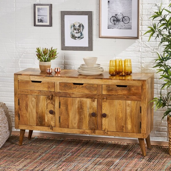 """Shop Palermo Boho Mango Wood 3 Door Sideboard With 3 Within Latest Strock 70"""" Wide Mango Wood Sideboards (View 15 of 20)"""