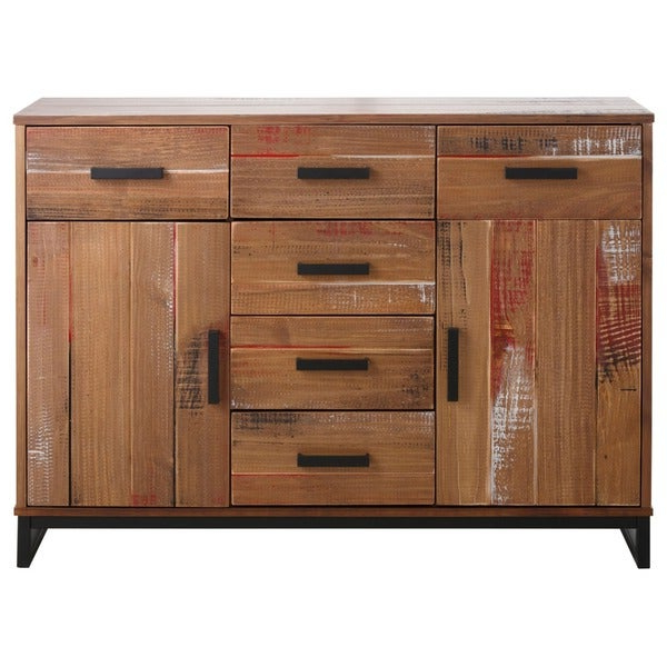 """Shop Santana Pine And Metal 2 Door 6 Drawer Sideboard Within Recent Millstadt 52"""" Wide 3 Drawer Pine Wood Buffet Tables (View 8 of 20)"""