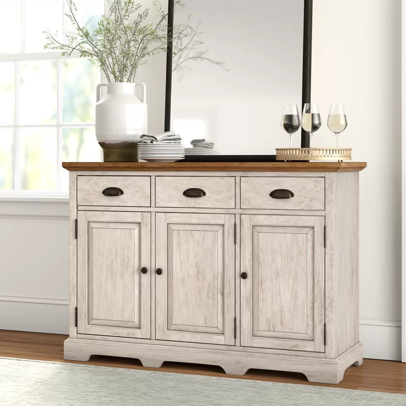 """Slattery 52"""" Wide 2 Drawer Buffet Tables Within Popular Fortville 52"""" Wide 3 Drawer Rubberwood Wood Sideboard (View 8 of 20)"""