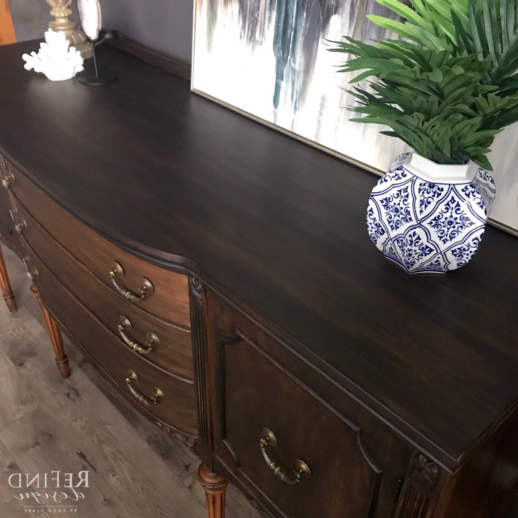 Sold Vintage Traditional Buffet, Black Modern Sideboard Intended For Favorite Orner Traditional Wood Sideboards (View 19 of 20)