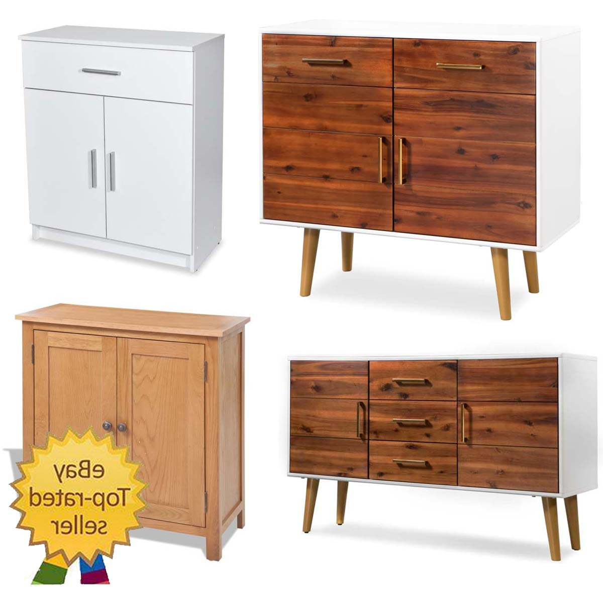 """Solid Acacia Wood Sideboard Cupboard Home 2 Doors 3 Inside Recent Fahey 58"""" Wide 3 Drawer Acacia Wood Sideboards (View 20 of 20)"""