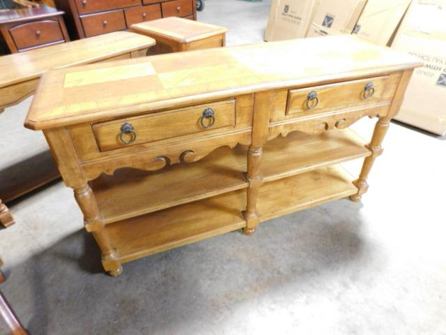 """Solid Wood Open Front Sideboard With Two Drawers And For Trendy Orianne 55"""" Wide 2 Drawer Sideboards (View 3 of 20)"""