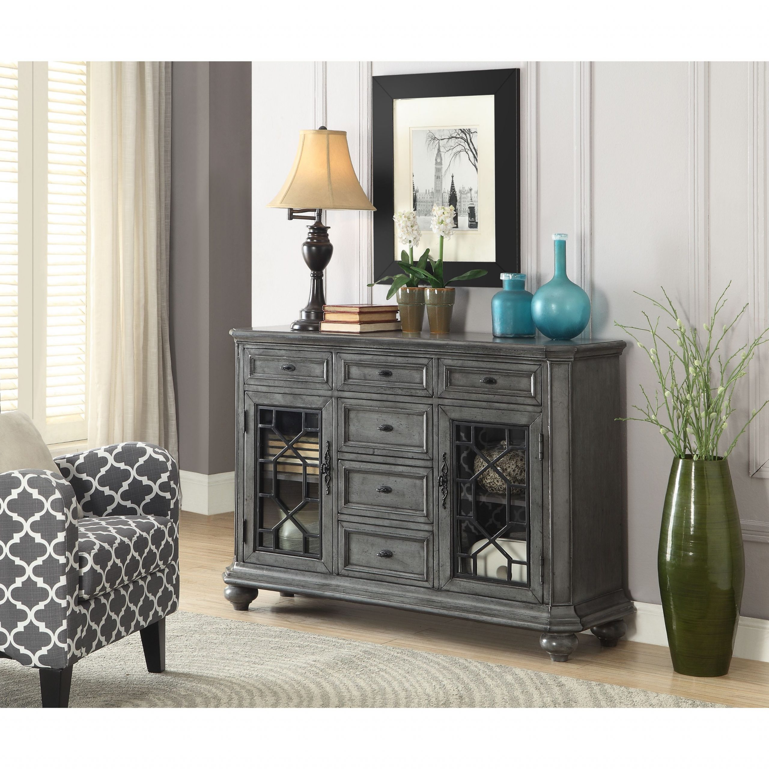 """Somette Two Door Six Drawer Sideboard, Burnished Grey – 52 Pertaining To Best And Newest Milena 52"""" Wide 2 Drawer Sideboards (View 3 of 20)"""