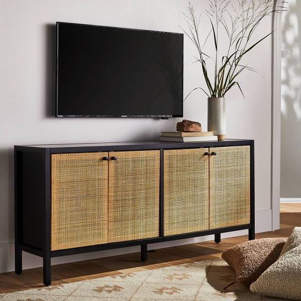 """Springville Caned Door Tv Stand For Tv's Up To 60"""" Black With 2019 Adora Tv Stands For Tvs Up To 65"""" (View 15 of 20)"""
