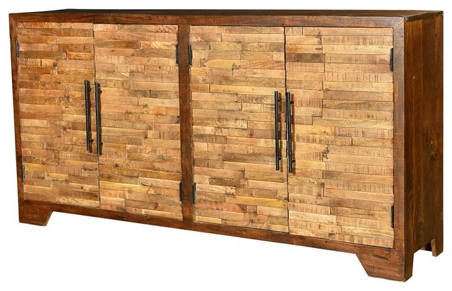 """Strock 70"""" Wide Mango Wood Sideboards With Regard To Well Known Bengal Manor Mango Wood Random Strips Sideboard – Rustic (View 8 of 20)"""